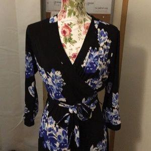 Black and blue floral tie midi dress